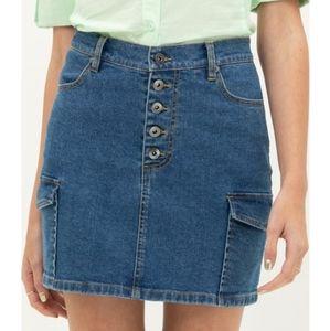 Cargo denim mini skirt